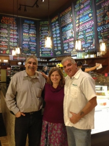 Ericka and Thomas with owner of new Crepevine Mountain View restaurant