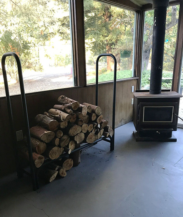 Wood burning stove in Sun Room picture